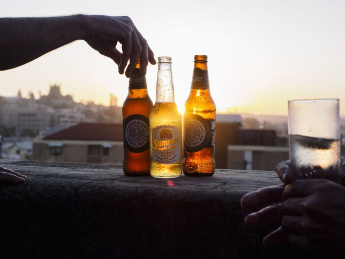 Beer Beer Bottles Food And Drink Lifestyles Socializing Sunlight Sunlight Through Glass Sunset