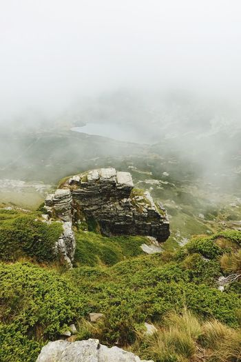 Its cloudy up in the mountains Fog Scenics - Nature Beauty In Nature Mountain Tranquil Scene Tranquility Plant Nature Environment No People Mountain Peak Outdoors Growth Sky Landscape Non-urban Scene Land Day High Angle View