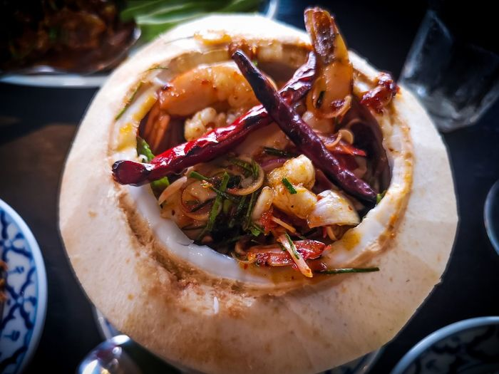 High angle view of food in coconut