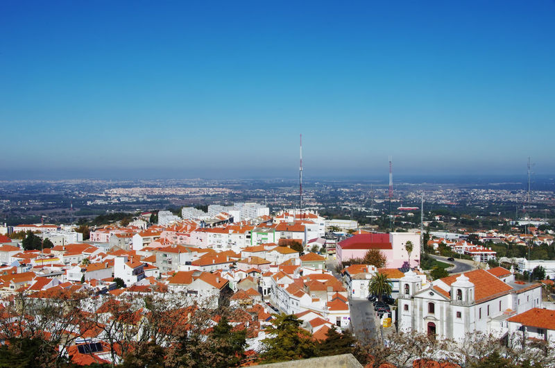 view of old town, Palmela, Portugal, from above Palmela, Portugal Architecture Building Exterior Built Structure Cityscape Clear Sky High Angle View House Residential Building Roof Town