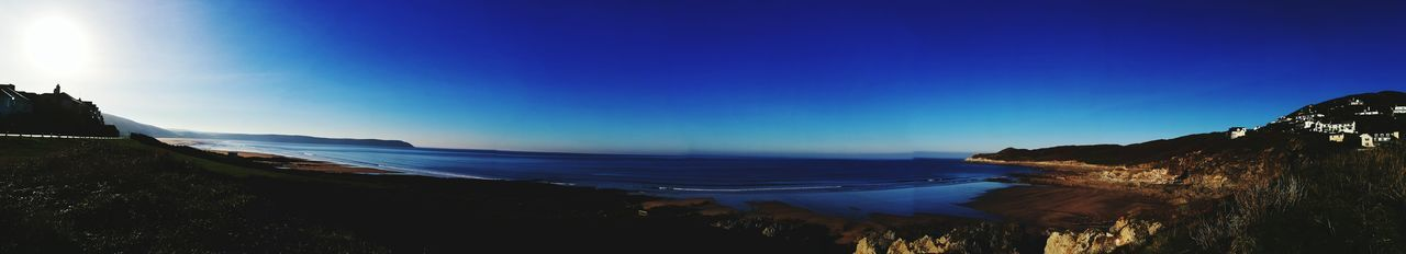 Beach Sea Blue Sand Landscape Night Sky Beauty In Nature Horizon Over Water Outdoors Water Nature No People First Eyeem Photo