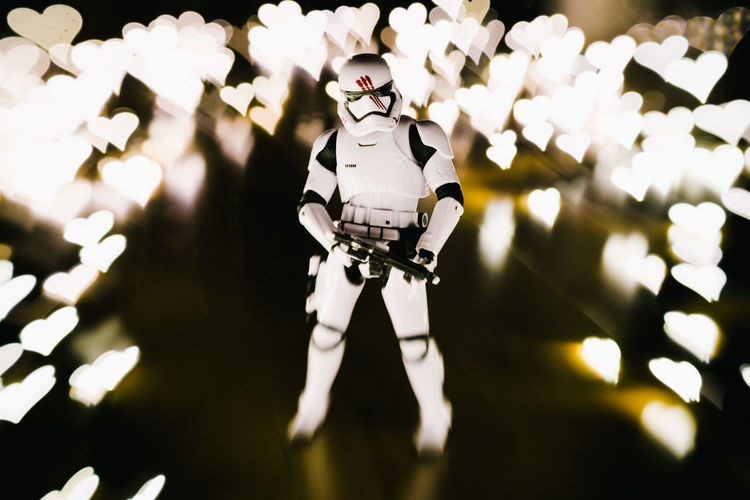 The Force of Love Bokeh Bokeh Hearts Bokeh Photography Bokehlicious Heart Illuminated Love Night Portrait Soldier Star Wars Storm Trooper The Force The Force Awakens