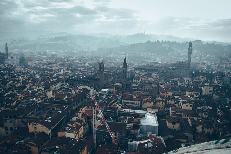 High angle view of florence against sky