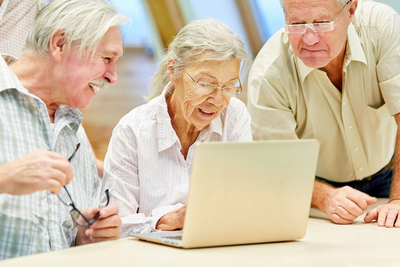 Senior people spending leisure time at health club