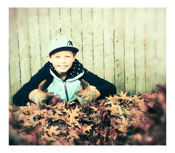 Portrait Photography Fall Fallen Leaves Joy And Enlightenment Portrait Of A Child Plants And Flowers Innocence Child Children Youth Youth Of Today Gloves Work Gloves Garden Gloves Yard Work Carhartt