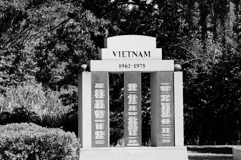 Memorial Park Satue Of Vietnam Veterans To Remember No People Black And White Photography