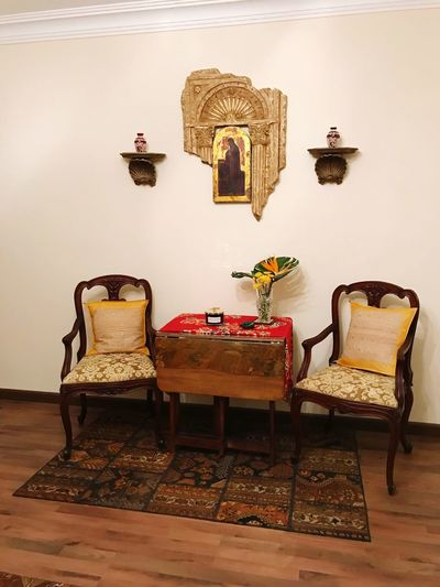Indoors  Chair Home Showcase Interior Living Room No People Furniture Table Home Interior Painting Art Madonna Russian Icon St Mary