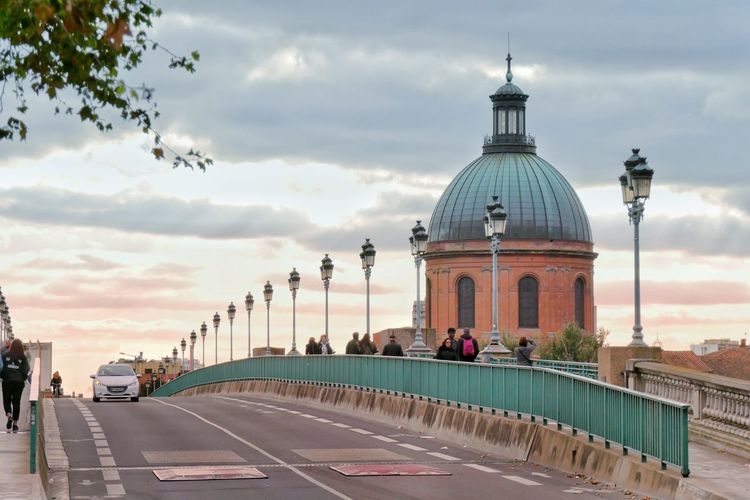 Dome Architecture Politics And Government Travel Destinations Government City No People Outdoors Sky Day Toulouse Toulouse France Bridge - Man Made Structure Bridge Streetphotography Road Coupole