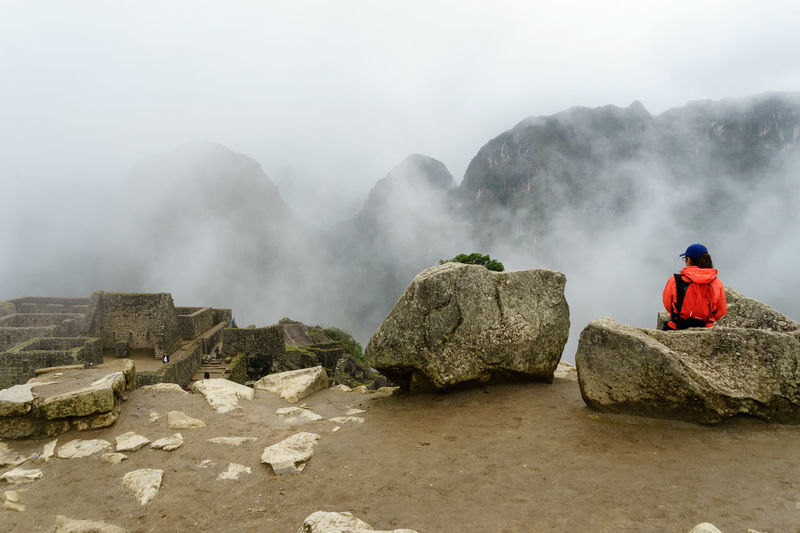 America Ancient Anden Bucket List Cloud Fog Inca International Landmark Landscape Machu Picchu Mist Mountain Old Peru Rain Ruins Season  Sky South Travel Traveling Wall