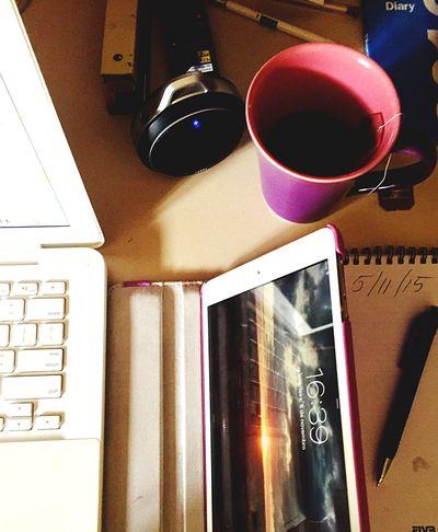 Desks From Above My Desk Today Notebook Tablet Table Pen Note Block Cup Tea Mini Speaker