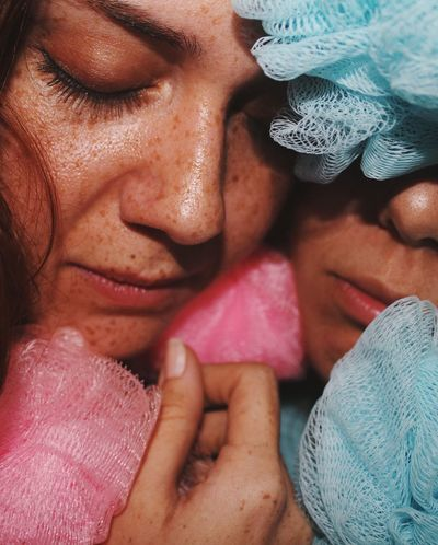 Anomaly in time Art Shower Sponge Women Human Body Part Adult Real People Close-up Body Part People Eyes Closed  Portrait Human Face Females Two People Headshot