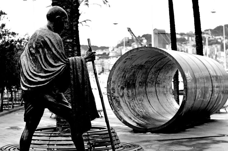 Adult Black And White Day Ghandi Just Black & White Just Black/white/gray One Man Only One Person Outdoors People Real People Sculpture Urban City Landscape Woman Girl Female Walk Walker Walking Strol Thames Embankment Birdseye View Trees Water London City Documentary Reportage Photography Street Photos Film Digital Images Black And White Monochrome