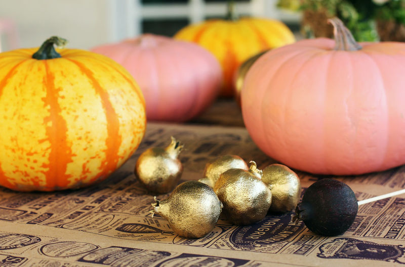 Close-up of pumpkins on table