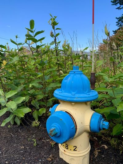 Fire hydrant on field against blue sky