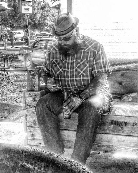 Blackandwhite Bass Player That's Me Enjoying Life Hanging Out Pacific Northwest  OregonLove Beardsandtattoos Hand Tattoos Beardlife