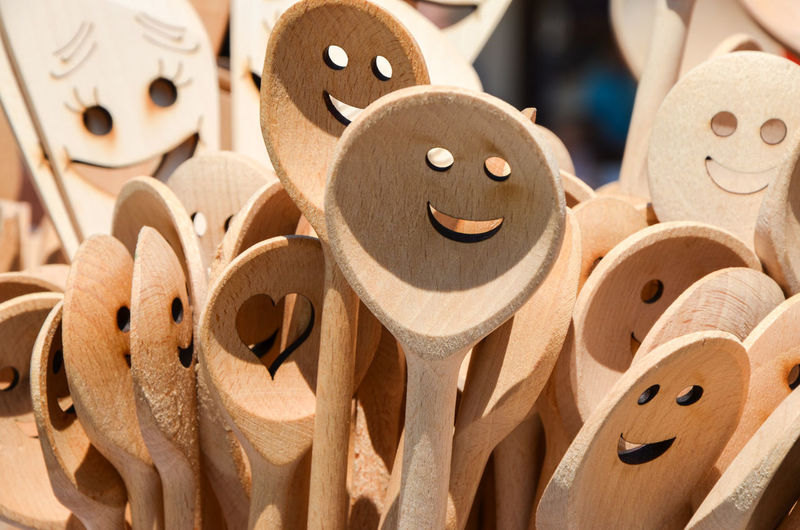 Close-Up Of Anthropomorphic Smiley Face On Wooden Spoon