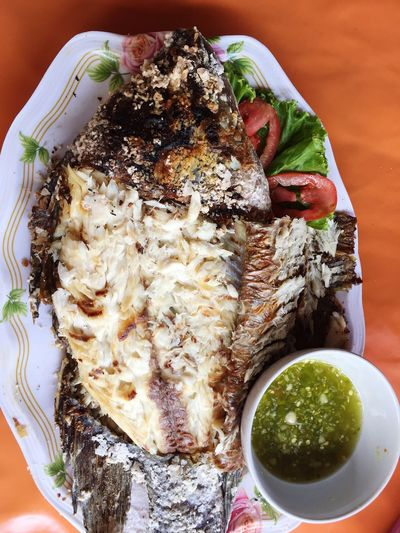 Grilled salty fish in Thailand Street Food Thai Street Food Grilled Fish Food And Drink Food Freshness Ready-to-eat Plate Serving Size No People Seafood Healthy Eating