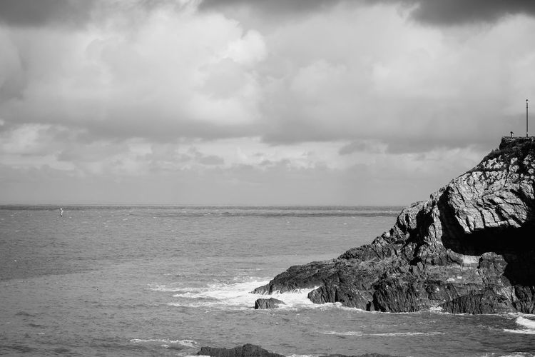 Beauty In Nature Black & White Black And White Cloud Cloud - Sky Cloudy Coastline Day Horizon Over Water Idyllic Landscape Nature Non-urban Scene Outdoors Remote Rock Formation Rocks Scenics Sea Seascape Sky Spray Tranquil Scene Tranquility Water