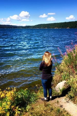 My Daughter ♥ Rear View Water Standing Person Scenics Vacations Tranquil Scene Long Hair Leisure Activity Tourist Blond Hair Getting Away From It All Sky Tranquility Beauty In Nature Summer Blue Weekend Activities Nature Tourism People Are People People And Places Women Around The World Millennial Pink