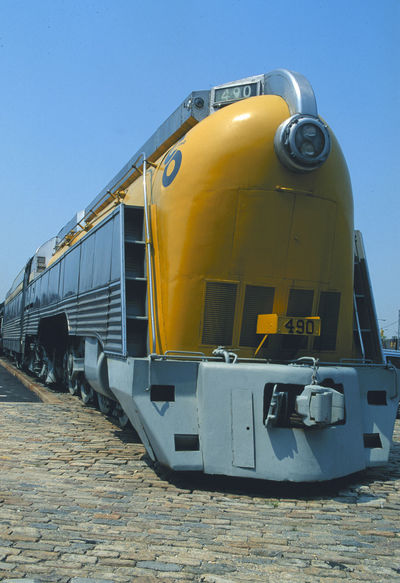 Classic Locomotive Art Deco Clear Sky Day Locomotive Mode Of Transport No People Outdoors Rail Transportation Sky Train - Vehicle Transportation Yellow