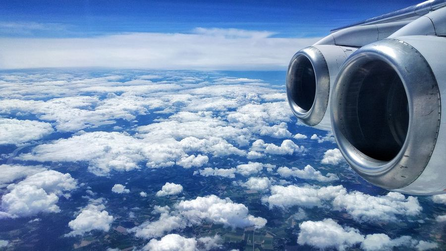 Off to London! Cloud - Sky Blue Aerial View Jet Engine Airplane Sky