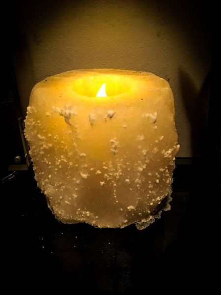 Saltlamp Candle Yellow Indoors  Melting Flame
