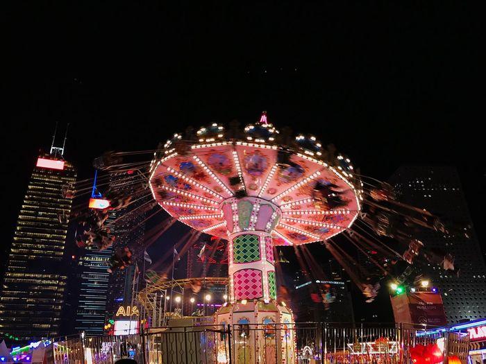 HongKong Night Amusement Park Ferris Wheel Leisure Activity Amusement Park Ride Arts Culture And Entertainment