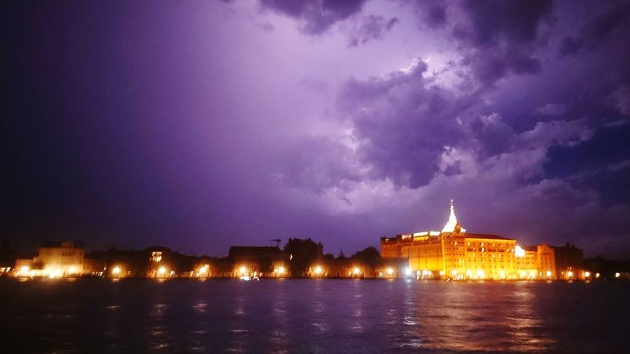 Night Architecture Travel Destinations Water Cloud - Sky City Sky Storm Cloud Venice, Italy
