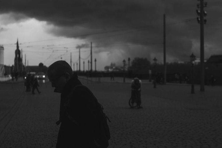 Architecture Blackandwhite City Day Focus On Foreground Lifestyles Men Nature One Person Outdoors People Rain Real People Sadness Sky Streetphotography Sunset Walking Women