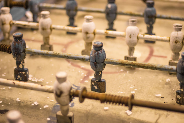 Close-up of old foosball table