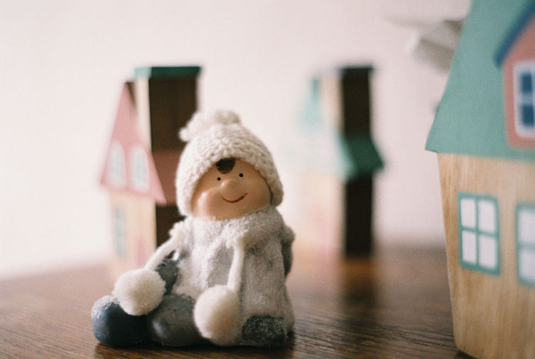 Close-up of stuffed toy on table at home