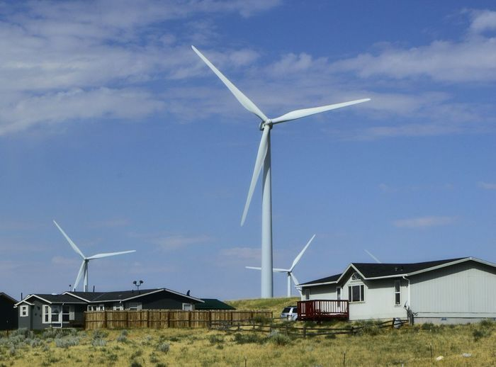 In your own back yard East Of Casper Wyoming Extremly Close To Houses Check This Out Many Wind Turbines Fenced In, Private Property