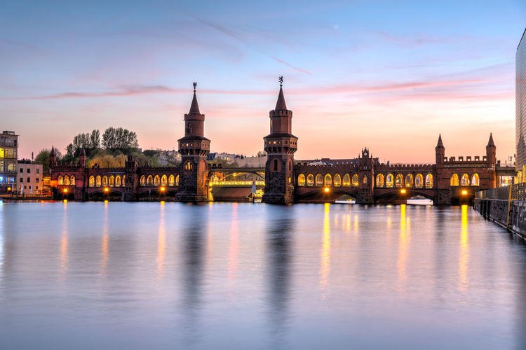 The beautiful oberbaubruecke over the river spree in berlin at sunset