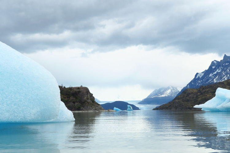 Icebergs floating in river at torres del paine national park