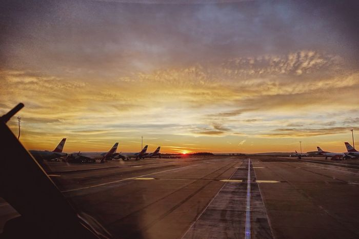 Lovely Apron Taxiway EyeEmNewHere EyeEm Best Shots Sunrise Airplane Transportation Sky Airport Cloud - Sky Air Vehicle