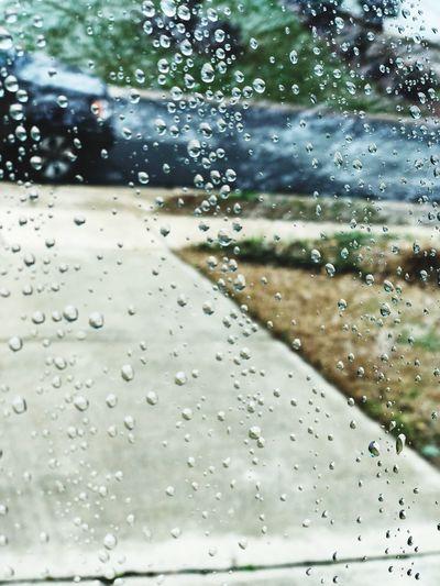Rain on window Drop Rain Wet Transparent Window Glass - Material Water Day Looking Through Window