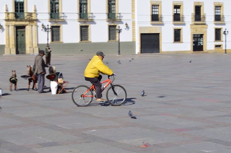 Bicycle Real People Lifestyles Plaza De Bolivar Tunja Only Men Focus Object From My Point Of View