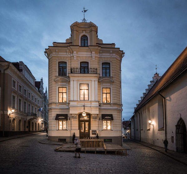 Blue Hour in Old Town Tallinn Blue Hour Old Town Tallinn Architecture Building Exterior Built Structure City Cloud - Sky Cobblestone Day Illuminated Outdoors Sky Travel Destinations