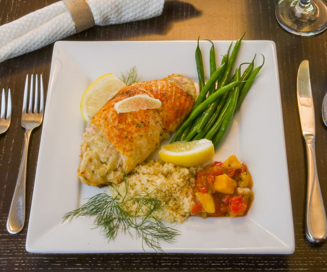 Dinner Plate Food Food And Drink Plate Ready-to-eat Seafood Stuffed Talapia