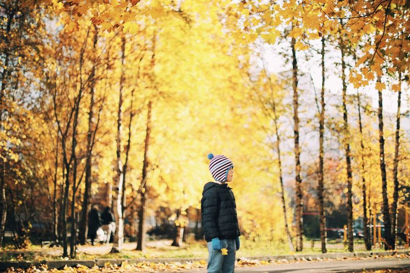 Boy wearing warm clothing while standing against trees during autumn