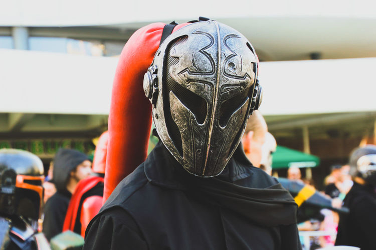 Close-Up Of Person Wearing Costume Helmet