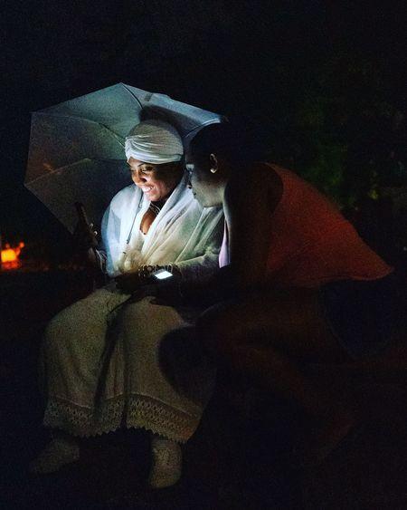 Man sitting at night
