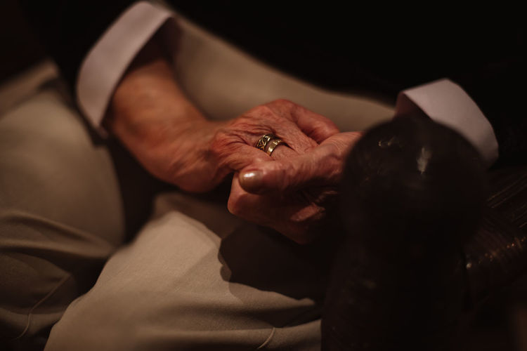 wrinkly hands of senior woman Indoors  Human Hand Adult Hand Human Body Part Women Holding People Midsection Close-up Senior Adult Selective Focus Men Senior Women Real People Love Ring Emotion Two People Finger Care Wrinkled Aging Worried Sorrow