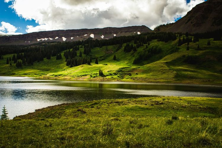 Colorado Sky Water Scenics - Nature Cloud - Sky Beauty In Nature Plant Tree Mountain Environment Nature Green Color Lake Landscape Non-urban Scene Mountain Range No People Land Tranquil Scene Tranquility Day