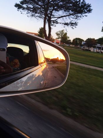 Evening drive. ▶️ Side-view Mirror Car Tree Nature Sky Sunset