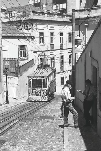 Building Exterior Architecture Built Structure City Outdoors Adult Men People The Way Forward Urban Exploration Portugal Oficial Fotos Colection EyeEm© Portugal_em_fotos Portugal_lovers Portugal Traveltheworld Travelphotography Travelgram Tramway Black And White Black And White Photography Black&white Black And White Collection  Street Photography Streetphotography Street