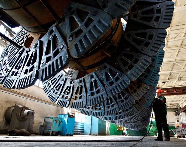 Russia, Stary Oskol, Stoilensky Mining and processing plant, repair of equipment for beneficiation plant Architecture Art Building Built Structure Casual Clothing City Life Day Leisure Activity Lifestyles Metallurgy Mining Industry NLMK Outdoors Russia россия Tourism Travel Destinations
