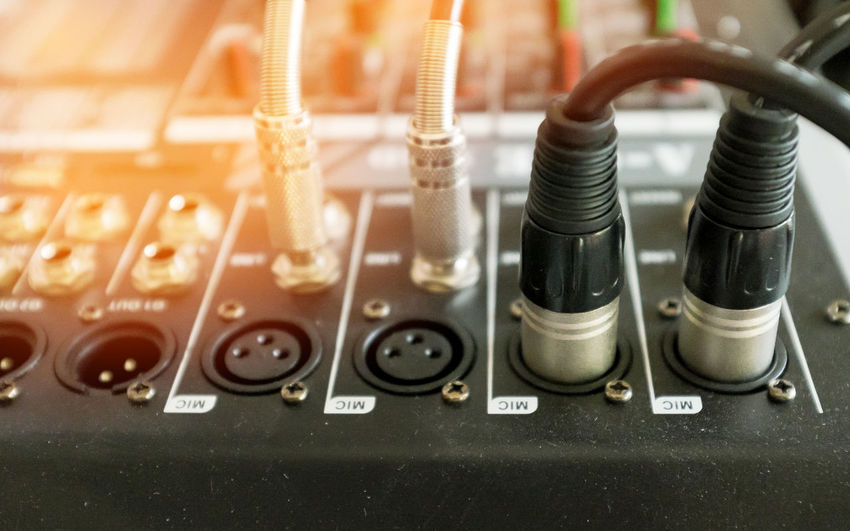 Signal cable connect to mixer Close-up Connection Block Day Indoors  Mixing Music Network Connection Plug No People Recording Studio Sound Mixer Sound Recording Equipment Switch Technology