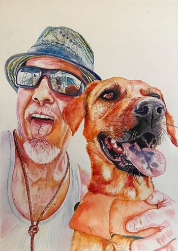 Kraig and Huck Happiness Selfie ✌ Painting Artist Art Mananddog Dog Canine One Animal Pets Mammal Domestic Domestic Animals Portrait Glasses Real People Pet Owner Smiling Fun People
