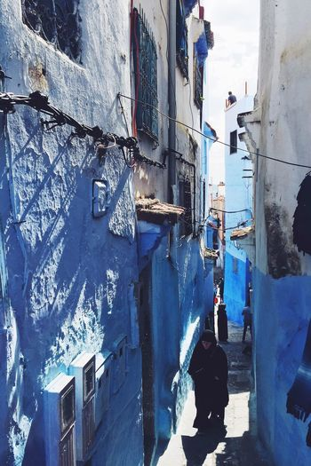 Chefchouen Chefchaouen Morocco Blue Architecture Streetphotography Alleyway Woman Mystic Culture Travel Travel Photography